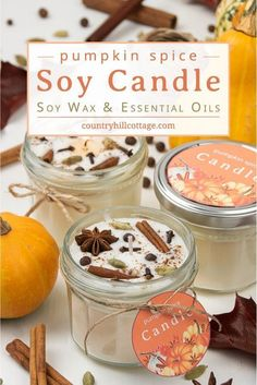 DIY Pumpkin Spice Candles – Fall Candles Recipe with Essentials Oils – Soy Candles İdeas Homemade Soy Candles, Diy Candles Scented, Oil Candles, Aromatherapy Candles, Yankee Candles, Pumpkin Spice Candle, Diy Pumpkin, Pumpkin Candles, Recipe Tips