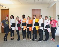 the office halloween costumes Office Party Mottoparty Themen zum Fasching, Sushi und Soen Best Group Halloween Costumes, Purim Costumes, Christmas Costumes, Diy Halloween, Halloween Office, Funny Group Costumes, Halloween Decorations, Desk Decorations, Zombie Costumes