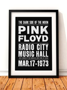 Pink Floyd concert poster, Pink Floyd print, music inspired print, Pink Floyd, Pink Floyd poster, Radio City, Dark Side Of The Moon by TheIndoorType on Etsy https://www.etsy.com/listing/239716067/pink-floyd-concert-poster-pink-floyd