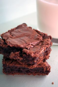 homemade brownies: i substituted 1/2 cup of applesauce for 1 stick of butter in this recipe.  Still sooo yummy.
