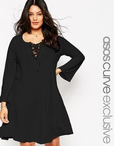 ASOS CURVE Swing Dress with Eyelets and Lace Up Detail