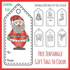 Free zentangle gift tags to color