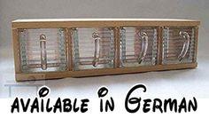 B00R566P6A : Schüttenkasten Holz inkl. 4 Vorratsschütten- Schüttenregal T27 Schüttenkasten Fronten Bleikristall geriffelt. Holzschüttenkasten. inkl. 4 Glasschütten Front matt