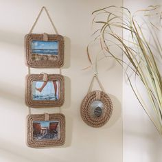 Jute and nautical rope frames. Beach and coastal inspired photo frames as memory keepers for favorite family and vacation photos. DIY seashell and rope projects. Jute Crafts, Decor Crafts, Diy And Crafts, Cadre Photo Diy, Diy Photo, Rope Frame, Diy Frame, Art Corde, Diy Rustic Decor