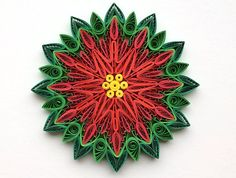 Snowflakes Poinsettia Green Red Yellow Christmas Tree Decoration Winter Ornaments Gifts Toppers Filler Office Corporate Paper Quilling Art This is unique handmade quilled snowflakes - Christmas edition! Amazing Christmas gift for Your loved ones and suitable for all winter occasions.