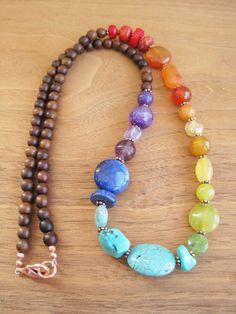 Rainbow Stone Gemstone Necklace Wood Bright by inbloomdesigns