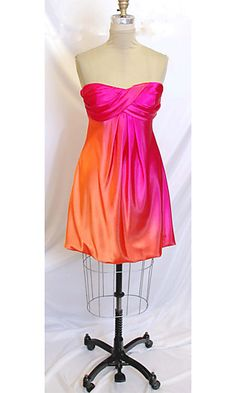 pink and orange silky dress