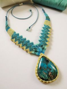 Chrysocolla Macrame Necklace handmade with natural chrysocolla gemstone cabochon