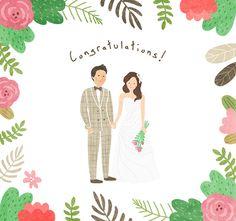 축하해 - 일러스트레이션 · 파인아트, 일러스트레이션, 파인아트, 디지털 아트, 일러스트레이션 Wedding Illustration, Family Illustration, Woman Illustration, Watercolor Illustration, Wedding Drawing, Wedding Art, Creative Wedding Invitations, Wedding Invitation Cards, Water Art