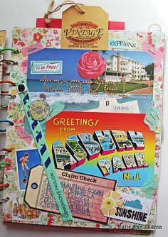 Mix travel ephemera with scrapbook ephemera by Julie Ann Shahin as seen on the Studio Tangie blog at http://tangiebaxter.com/news/2011/08/23/art-journaling-101-visual-journaling-focus/