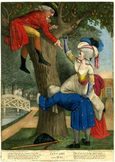 January and May, 1785, 1935,0522.1.6 British Museum  While an older suitor gives a young lady an assist into a tree, she is met by a younger suitor