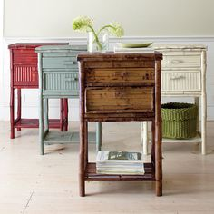 "Rattan Side Table | The Company Store  18""W x 12""D x 32""H."