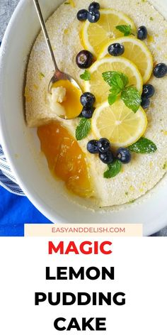 Do you love magic cake? So you have to try this lemon pudding cake recipe baked with a few ingredients in 40 minutes. It is summery and refreshing. Get the recipe now for your Sunday dessert or for your next potluck with friends! It is also gluten-free and dairy-free!   #easydesserts #summerdesserts #lemonrecipes #lemonrecipes #dessertrecipes #magiccake #puddingrecipe
