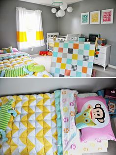 Shared Kids Bedroom - Mixed Gender Neutral- I don't like every single thing in this room but I LOVE the use of the colors together