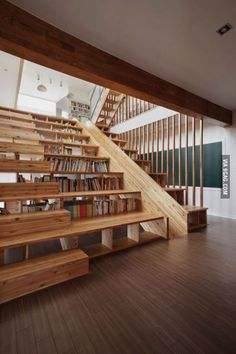 Bookshelf Staircase Slide, too much awesomeness in one picture.