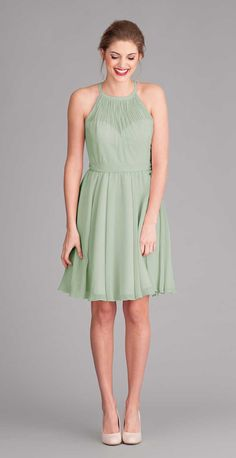 Sage Green Knee Length Dress