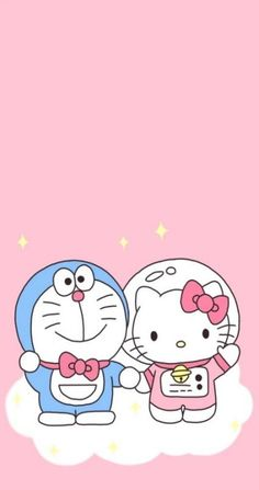 iphone wallpaper plain hello kitty and doraemon Sanrio Hello Kitty, Hello Kitty Tumblr, Cartoon Wallpaper Iphone, Kawaii Wallpaper, Cute Cartoon Wallpapers, Iphone Wallpapers, Hello Kitty Iphone Wallpaper, Hello Kitty Backgrounds, Softies