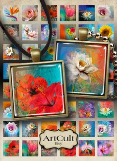 EDEN FLOWERS - Digital Collage Sheet 1x1 inch and 7/8x7/8 inch size Images Printable downloads for glass and resin pendants, magnets, bezels...