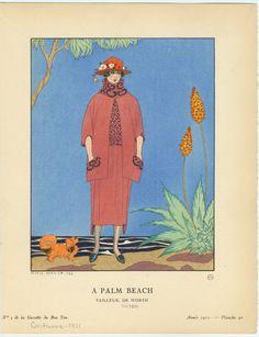 """¤ No. 5 de la Gazette du bon ton."""" """"Année 1921. Planche 40. George Barbier 1882-1932. Tailleur de Worth"""