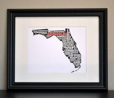FLORIDA STATE SEMINOLES Collage State Print (Customize or Choose Your Own State). $12.50, via Etsy.