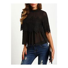 SheIn(sheinside) Black Crew Neck Lace Chiffon Blouse (€21) ❤ liked on Polyvore featuring tops, blouses, black, lace chiffon top, collar blouse, lacy blouses, elbow sleeve tops and lace tops