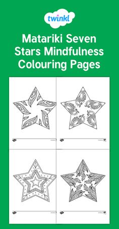 Set of Matariki Colouring pages, great for mindfulness colouring. There are 9 different Matariki stars to colour and each has it's own unique design. Star Coloring Pages, Colouring Sheets, Mindfulness Colouring, Food Art For Kids, Art Worksheets, Home Learning, Star Art, Color Activities, Love Art
