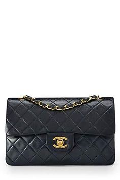 ae346c23e CHANEL Navy Quilted Lambskin Classic Double Flap Small (Pre-Owned)