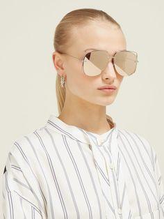 DiorStellaire6 metal aviator sunglasses   Dior Eyewear   MATCHESFASHION.COM Christian Dior Sunglasses, Friends In Love, Sunnies, Eyewear, Mirrored Sunglasses, Silhouette, Metal, Clothes, Outfits