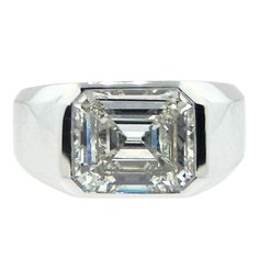 CARTIER Emerald Cut Diamond Signet Ring