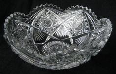 CRYSTAL CUT GLASS BOWL AMERICAN BRILLIANT PERIOD HEAVY DISH SERVING BOWL