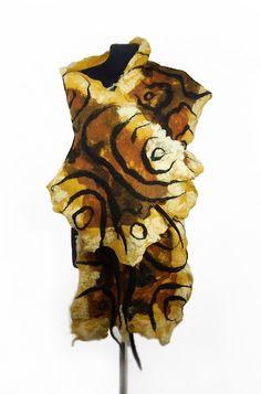 Felted Scarf Art Wrap Wild shawl Tiger Scarves Felt Nunofelt Nuno felt Silk multicolor wearable art Fiber Art