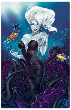 Elias Chatzoudis - A very sexy illustration of Disney villain Ursula from Little… Disney Pin Up, Disney Fan Art, Disney Love, Dark Disney, Disney Magic, Disney And Dreamworks, Disney Pixar, Ursula Disney, Art Kawaii