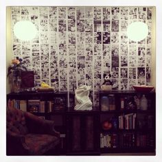 I Kill Giants Comic Book Wall Mural - DIY project made with instructions from http://witandwhistle.com/2013/04/11/diy-photo-mural/