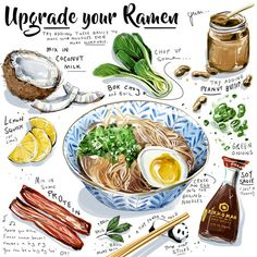 Ramen Ideas by Culinary Illustrator Amber Day Amber Day, Cute Food, Yummy Food, Asian Recipes, Healthy Recipes, Ramen Recipes, Burger Recipes, Recipe Drawing, Plat Vegan