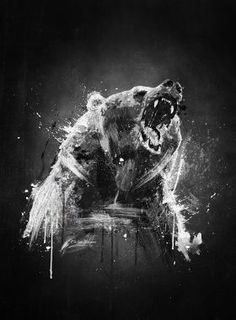 Emiliano Morciano  http://displate.com/displate/18403/print-on-steel-animals-bear-cool-painting-wildlife-angry-fan-black-white-brush