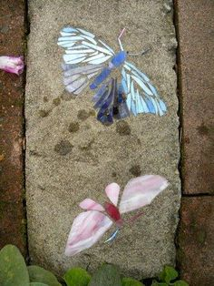 Add broken glass to cement to make stepping stones