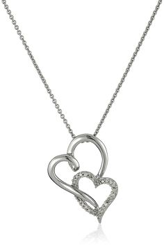Sterling Silver Diamond Double Open Heart Pendant Necklace (1/10 cttw), 18' -- Visit the image link more details.