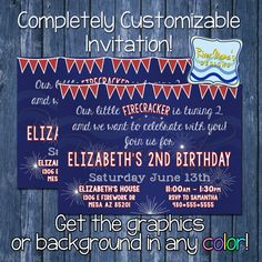Printable Firework Birthday Invitation / 4th of July Inspired Birthday Invitation