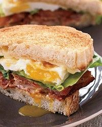 BLT Fried Egg-and-Cheese Sandwich --scrumptious recipe combines three of bacon, lettuce and tomato; fried egg; and grilled cheese