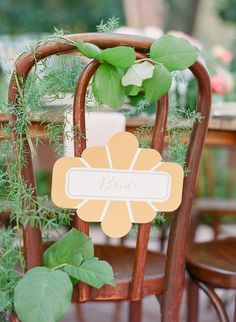 Garden Wedding Inspiration -- Chair Sign from GourmetInvitations.com -- See more on http://www.StyleMePretty.com/2014/01/28/bohemian-garden-wedding-inspiration/ Photography: Twah Dougherty  - StyleartLife.com #smp