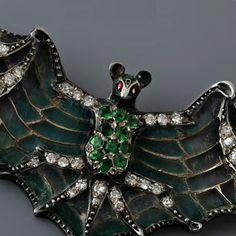 Antique Art Nouveau Plique-A-Jour Diamond and Green Garnet Bat Pin