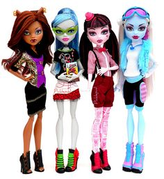 """Monster High friends ~ Ghoulia gets frustrated  she shuffles instead of walks, and cannot speak except in """"Zombie"""",  though her classmates have taken rudimentary lessons in the language and can understand her.   (Sort of like Han Solo & Chewbacca, the Wookie, in Star Wars).  Left to Right:  Clawdeen Wolf, Ghoulia Yelps, Draculaura, and Abbey Bominable"""