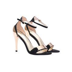 SheIn(sheinside) Black Metal Embellished Ankle Strap Sandals (58 CAD) ❤ liked on Polyvore featuring shoes, sandals, black, high heel sandals, ankle strap shoes, black stilettos, stiletto sandals and black peep toe sandals