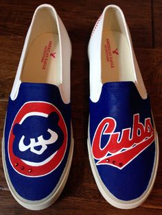 Custom Hand Painted Chicago Cubs Shoes by PaperPaintScissors
