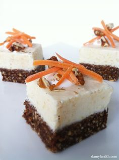Skinny Carrot Cake Cheesecake Bites. This his recipe is skinny, gluten free, no-bake, 5 minute prep, and a whole lot of carrot cake yummyness. www.damyhealth.co...