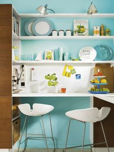 Modern Turquoise Blue Small Kitchen Design