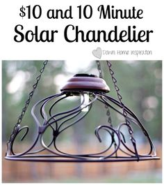 Solar Chadelier - This is a great way for me to repurpose 3 existing wire hanging flower baskets I have now. The crows keep tearing apart the moss liners so I'm done with them as flower baskets. Yay for repurposing!