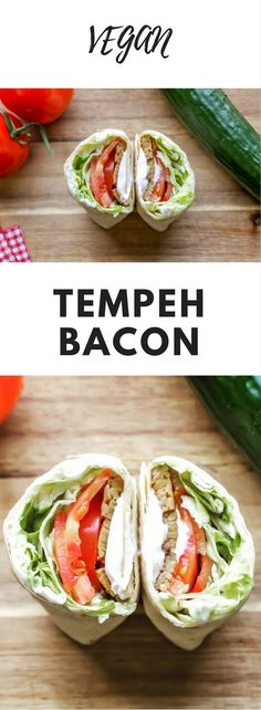 Vegan Tempeh Bacon Wraps - This awesome smokey Vegan Tempeh Bacon wrapped in a whole-wheat tortilla is seriously going to knock your socks off! And there are so many recipes you can make with the tempeh bacon! Great for a hassle-free lunch! Blt Recipes, Healthy Eating Recipes, Healthy Foods To Eat, Whole Food Recipes, Vegetarian Recipes, Recipes With Tempeh Bacon, Healthy Nutrition, Healthy Tips, Cooker Recipes