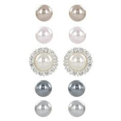 #10: Cream, Pink, Champagne, Light Grey and Dark Grey Simulated Pearl with Crystal Earrings Jacket Set