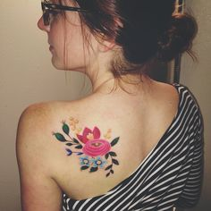 Floral shoulder blade tattoo inspired by Rifle Paper Co. #riflepaper #tattoo